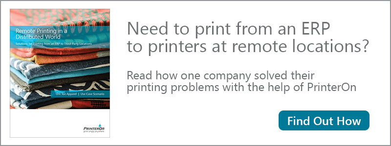 PrinterOn can provide secure remote printing from ERP systems to remote locations