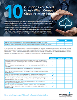 10 questions to ask when looking for a cloud printing solution